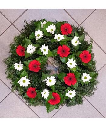 Jerba flori naturale albe si rosii cu minigerbera si crizanteme