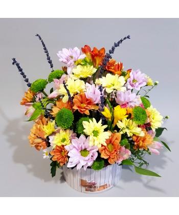 Cutie flori mix in culori de toamna