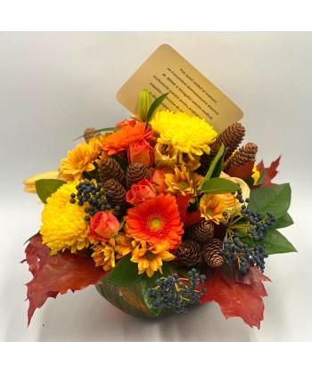 Aranjament in cos cu trandafiri, crin, crizanteme, anthurium si solidago