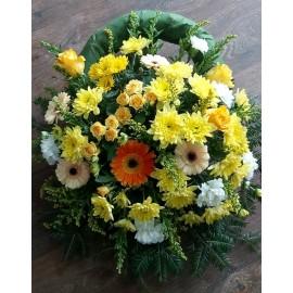 Coroana funerara rotunda din trandafiri, gerbera, garoafe si solidago