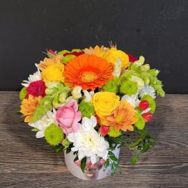 Aranjament floral mix in culori de toamna