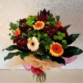 Buchet gerbera, crizanteme si leucadendron - 21 flori