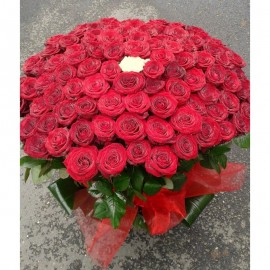 Cos 99 trandafiri rosii tija lunga si unul alb