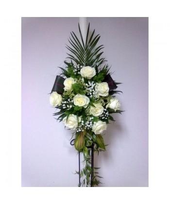 Lumanare nunta cu trandafiri si frunze mixte