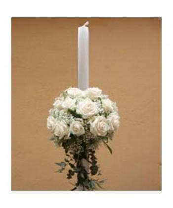 Lumanare de nunta cu trandafiri albi
