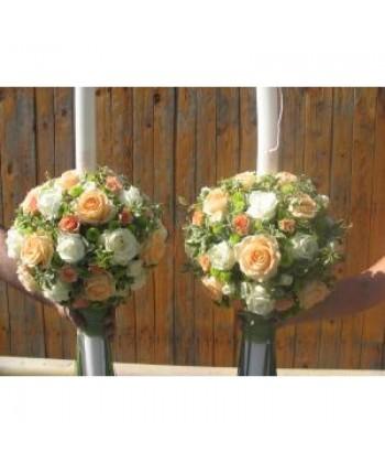 Lumanari de nunta cu trandafiri, tros, santini verde