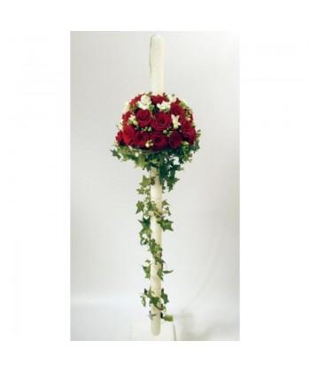 Lumanari de nunta cu trandafiri, frezii si frunze mixte