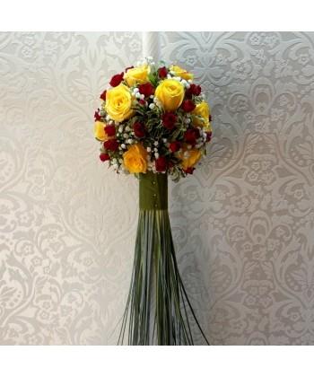 Lumanare de nunta cu trandafiri