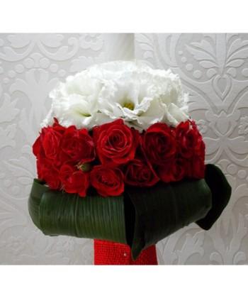 Lumanare nunta in alb si rosu