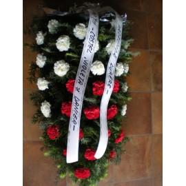 Jerba funerara din 30 garoafe albe si rosii