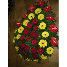 Coroana funerara cu anthurium, gerbera si trandafiri