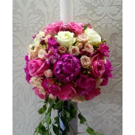 Lumanare de nunta in alb si roz
