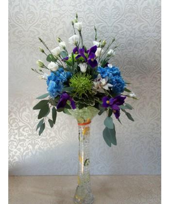 Aranjament nunta in vaza cu flori si lamaie