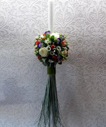 Lumanare nunta cu flori colorate
