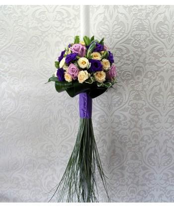 Lumanare nunta cu trandafiri si eustoma