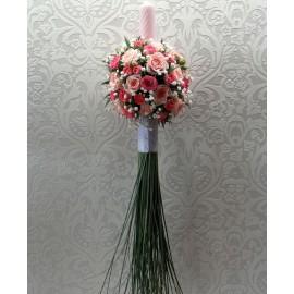 Lumanare nunta cu trandafiri roz