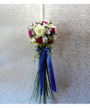 Lumanare de nunta cu trandafiri si dendrobium