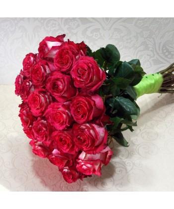 Buchet 21 tranafiri bicolori rosu si alb