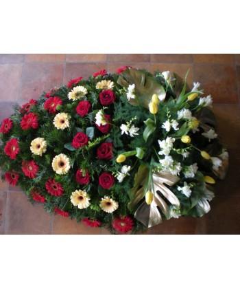 Coroana flori naturale trandafiri, gerbera, frezii si lalele
