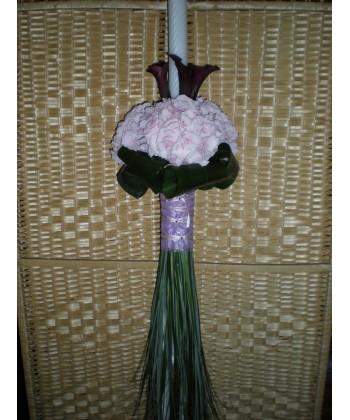 Lumanari de nunta pe rotund cu calla, hortensia si frunze mixte