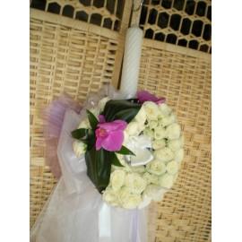 Lumanari de botez cu trandafiri si orhidee