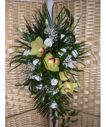 Lumanari de nunta cu lisiantus, cupe de orhidee, gypso si frunze mixte